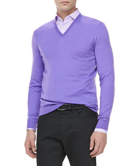 Ralph Lauren Black Label V-Neck Pullover, Light Purple