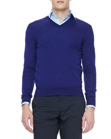 Merino/Cashmere V-Neck Sweater, Blue