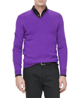 Ralph Lauren Black Label V-Neck Pullover, Dark Purple
