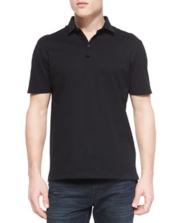 Lanvin Grosgrain-Collar Short-Sleeve Polo, Black