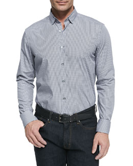 Lanvin Micro-Check Button Down Shirt, Dark Gray