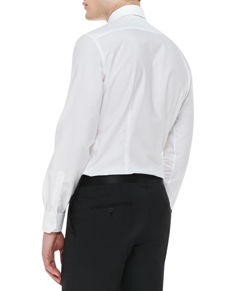 Tuxedo Shirt with Pleated Bib, White