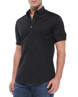 Alexander McQueen Short-Sleeve Button-Down Shirt, Black