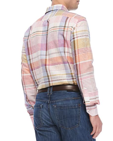 Madras-Plaid Paisley Shirt, Multi