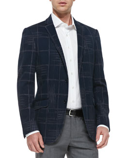 Etro Large-Check Jersey Jacket, Navy