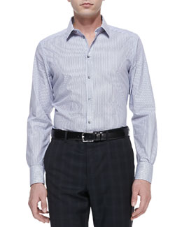Dolce & Gabbana Gold Solid Striped-Poplin Dress Shirt