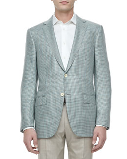 Ermenegildo Zegna Two-Button Jacket, Gray Houndstooth