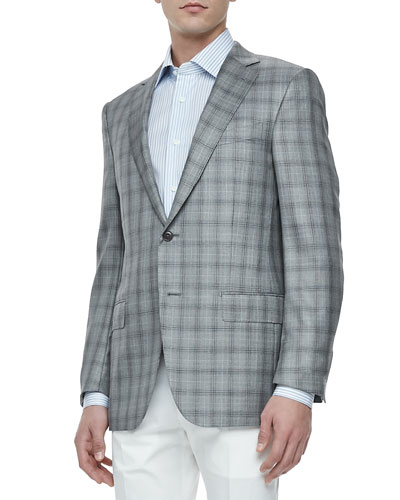 Two-Button Jacket, Gray/Black Plaid