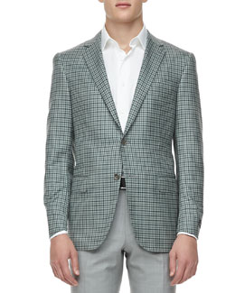 Ermenegildo Zegna Check Two-Button Sport Coat, Green/Navy