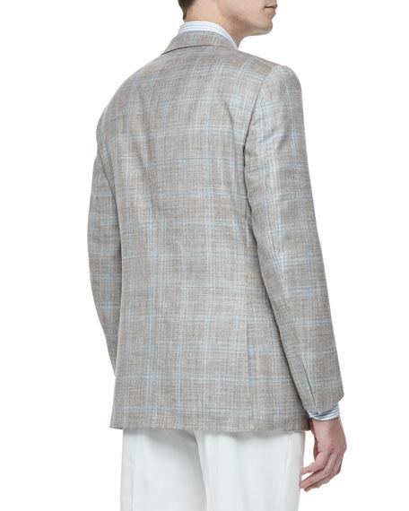Two-Button Blazer, Tan/Blue Plaid