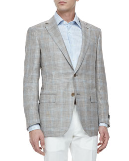 Ermenegildo Zegna Two-Button Blazer, Tan/Blue Plaid