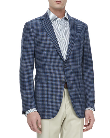 Ermenegildo Zegna Check Two-Button Blazer, Blue