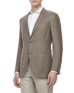 Ermenegildo Zegna Two-Button Blazer, Light Brown
