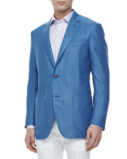 Ermenegildo Zegna Ten-Pocket Wool Blazer, Blue