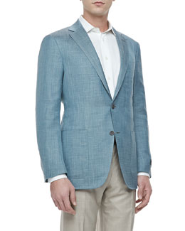 Ermenegildo Zegna Two-Button Jacket, Patrol Blue