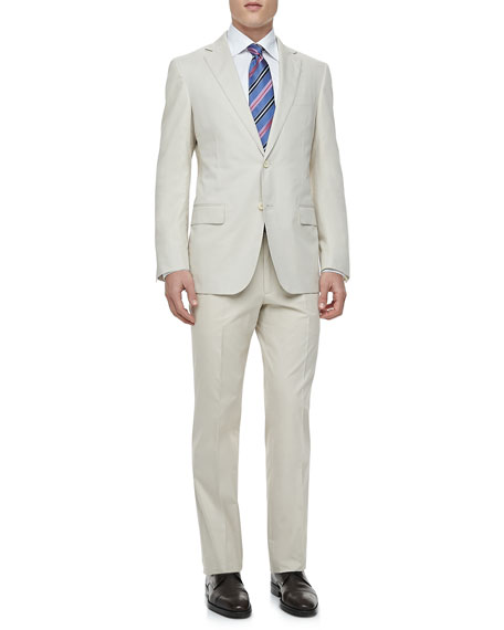 Stone Cotton Gabardine Suit, Tan