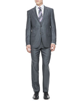 Ermenegildo Zegna Striped Two-Piece Suit, Grey