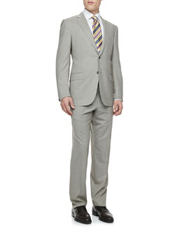 Ermenegildo Zegna Houndstooth Two-Piece Suit, Cream/Brown