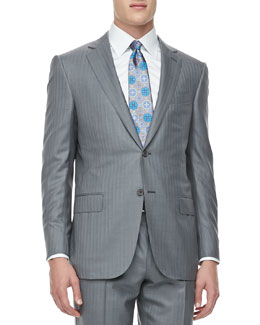 Ermenegildo Zegna Shadow Striped Trofeo 600 Suit, Light Gray