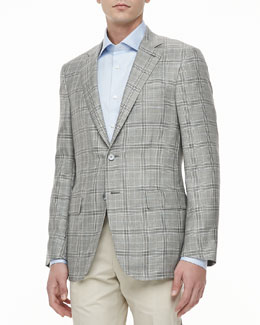 Isaia Plaid Two-Button Jacket, Gray