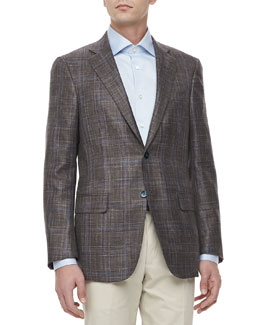 Isaia Two-Button Jacket, Brown Plaid with Blue