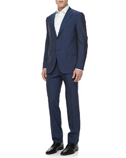 Isaia Narrow Stripe Two-Button Jacket, Blue