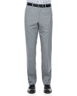 Isaia Solid Wool Dress Pants, Light Gray