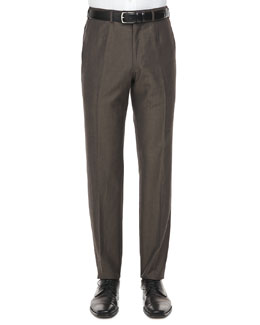 Isaia Flecked Wool Pants, Brown