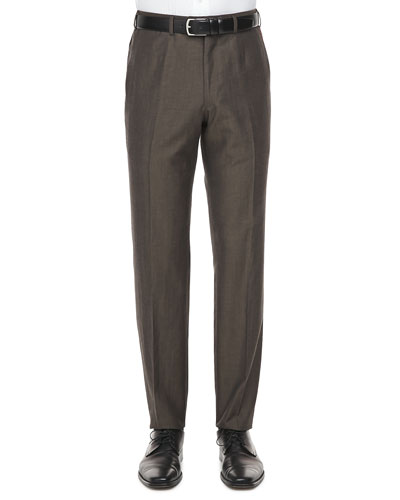 Flecked Wool Pants, Brown