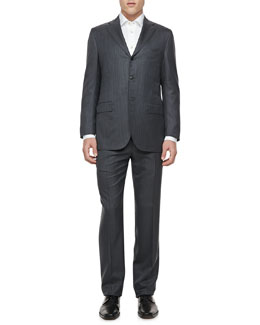Kiton Pinstriped Two-Button Jacket, Gray/Blue
