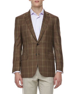 Brioni Plaid Wool/Silk Two-Button Sport Coat, Brown