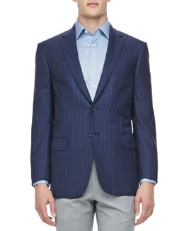 Brioni Tonal-Plaid Sport Coat, Navy