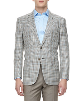 Brioni Gingham-Check Wool Blazer, Brown