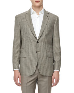 Brioni Mini-Check Wool Sport Coat, Tan