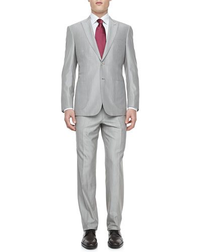 Fine Line Two-Piece Suit, Tan