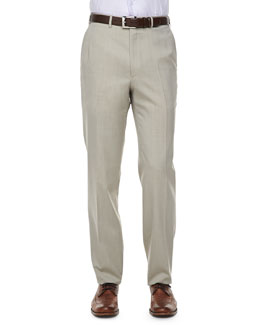 Brioni Solid Wool/Silk Dress Pants, Tan