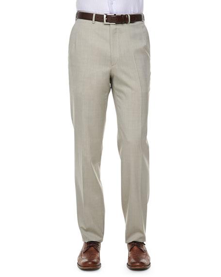 Brioni Solid Wool/Silk Dress Pants, Tan