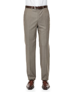 Brioni Solid Wool/Silk Dress Pants, Light Brown