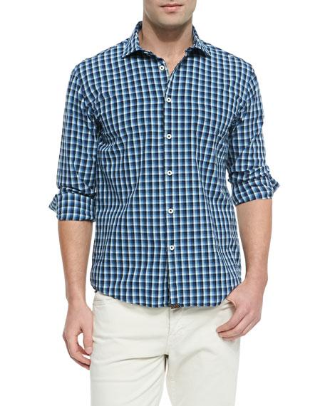 Woven Check Button-Down Shirt, Navy