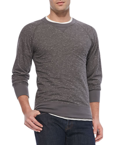 Flecked Crewneck Sweatshirt, Light Gray