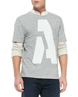 Rag & Bone Alphabet Pocket Tee, Dark Gray