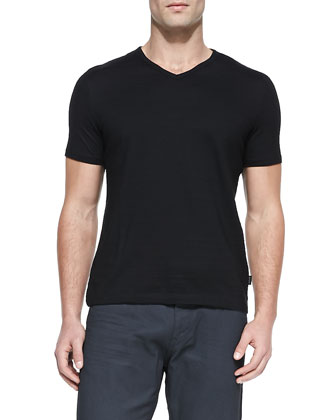 Flame Jersey V-Neck T-Shirt, Black