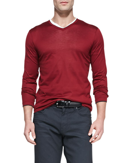 Mercerized Long-Sleeve V-Neck Tee, Red