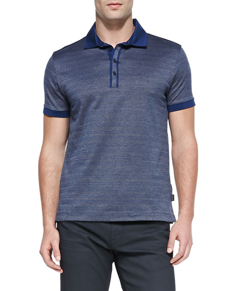 Twisted Jacquard Polo Shirt, Navy