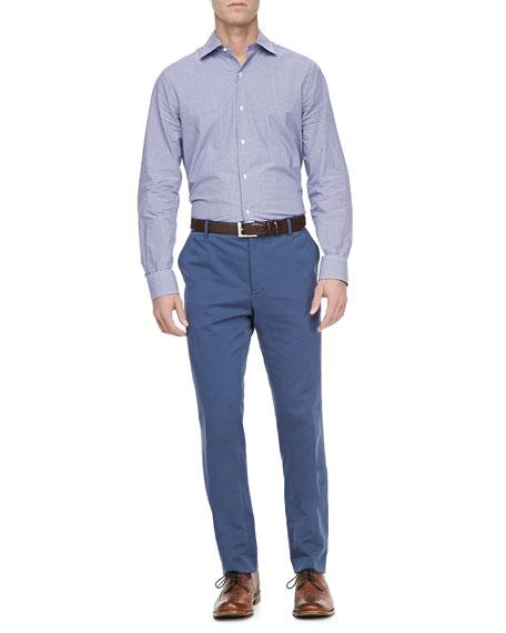 Linen-Blend Pants, Med Blue