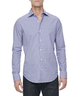 Vince Woven Sport Shirt, Purple Check