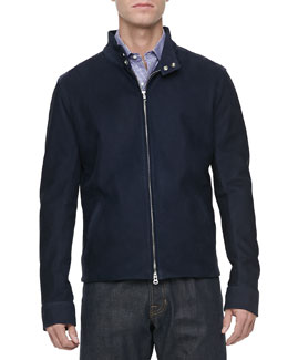Vince Nubuck Leather Zip-Front Jacket, Navy