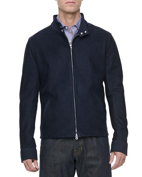 Nubuck Leather Zip-Front Jacket, Navy