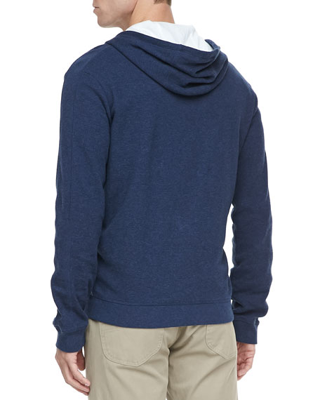 Jersey-Lined Heather Hoodie, Navy
