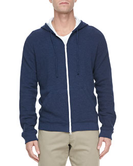Vince Jersey-Lined Heather Hoodie, Navy